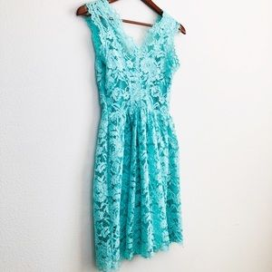 {tl} the letter V cut mint fit & flare lace dress
